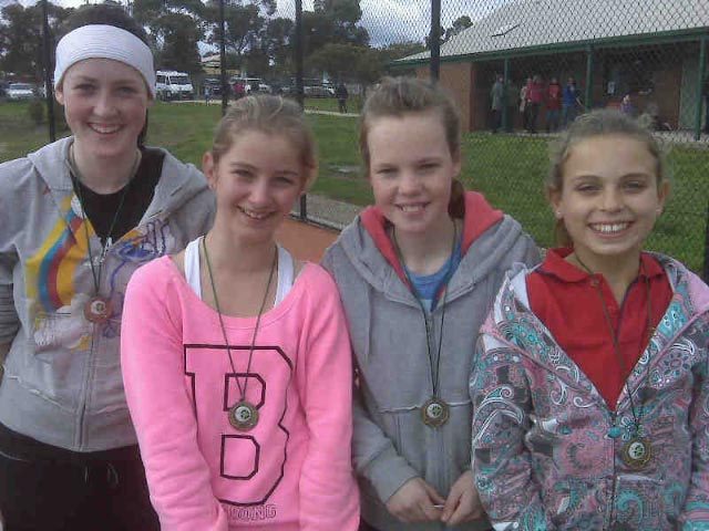 Girls Grade 8.Jessie Rogers, Taylor Sobczyk, Michaela McDonald and Claudia Gunjaca (From left to the right).