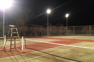 Lights on over tennis courts